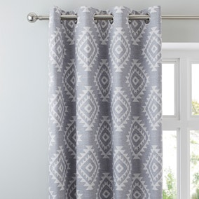 Catherine Lansfield Aztec Silver Eyelet Curtains