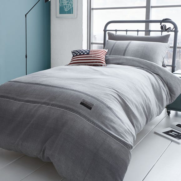Catherine Lansfield Denim Grey Duvet Cover and Pillowcase Set Grey undefined