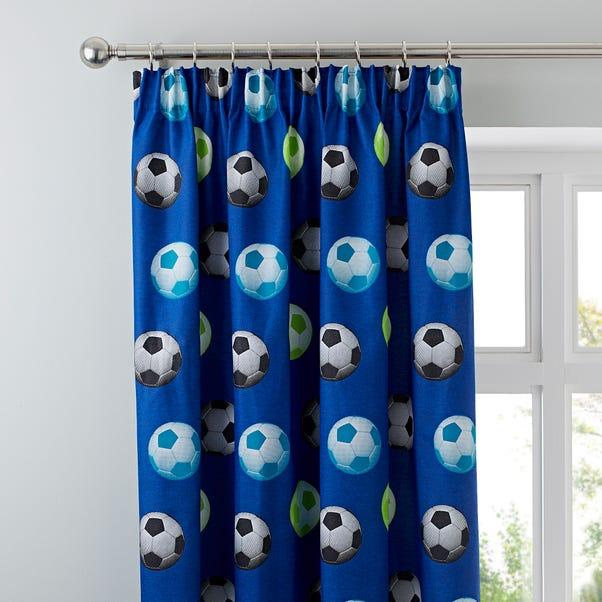 Catherine Lansfield Blue Football Pencil Pleat Curtains Blue