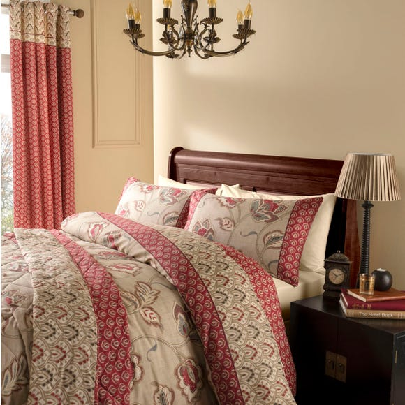 Catherine Lansfield Kashmir Red Duvet Cover and Pillowcase Set Red undefined