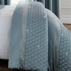 Catherine Lansfield Sequin Cluster Duck Egg Bedspread