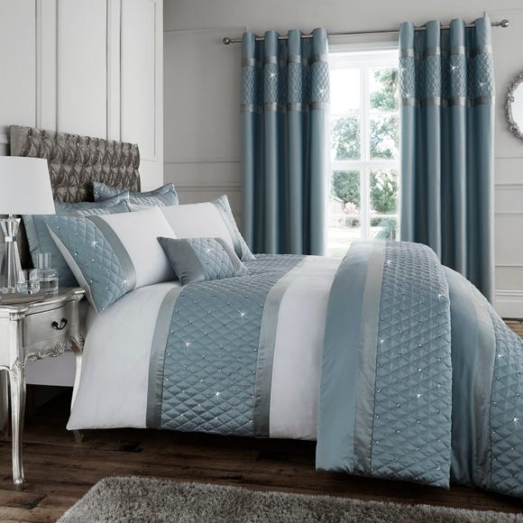 Catherine Lansfield Sequin Cluster Duck-Egg Duvet Cover and Pillowcase Set Duck Egg (Blue) undefined