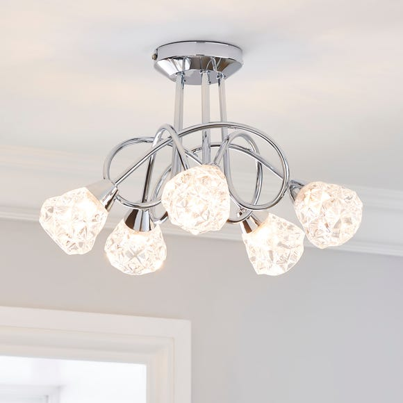 Ceccano 5 Light Glass Semi-Flush Ceiling Fitting Chrome