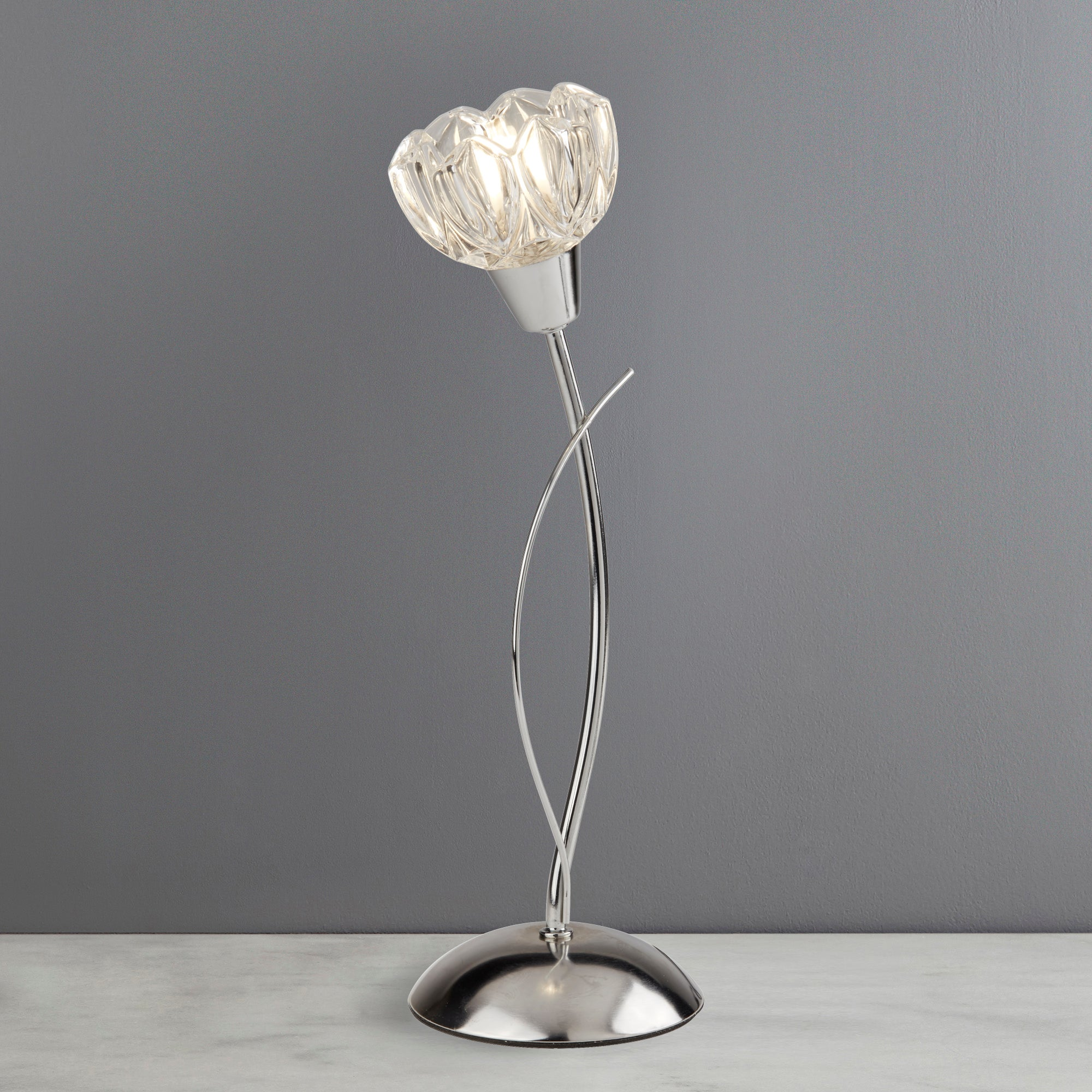 Ceccano Flower Glass Table Lamp Clear and Chrome