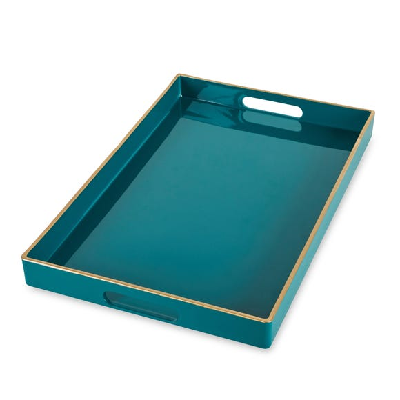 Rectangle Teal Tray Teal (Blue)