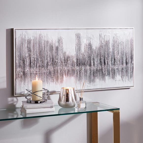 Sparkle Glitter Abstract Canvas Silver