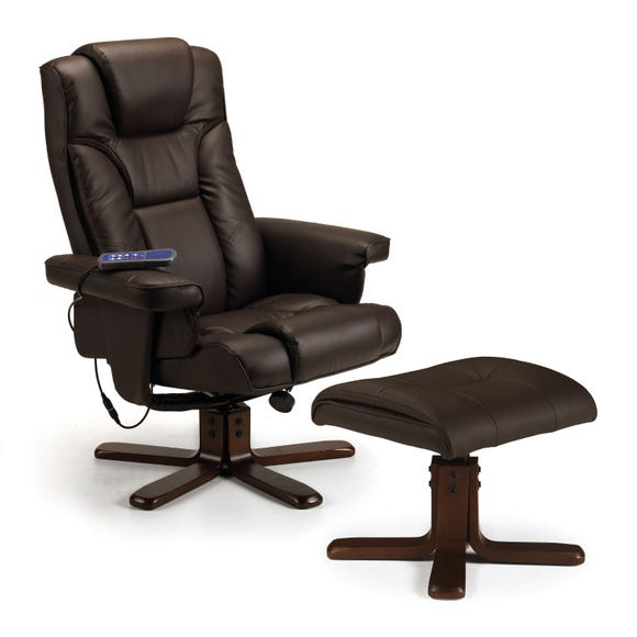 Malmo Massage Recliner and Stool - Brown Brown