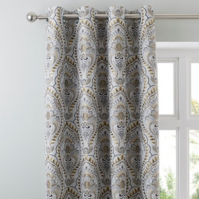 Leonardo Ochre Eyelet Curtains
