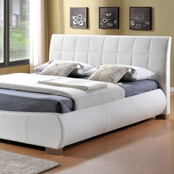 Dorado White Faux Leather Bed Frame White undefined