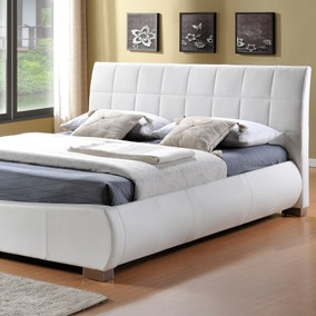 Dorado White Faux Leather Bed Frame