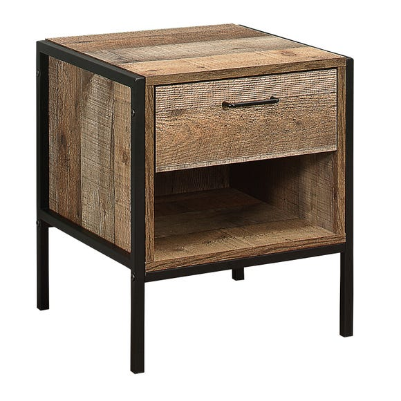 Urban Rustic 1 Drawer Bedside Table Natural