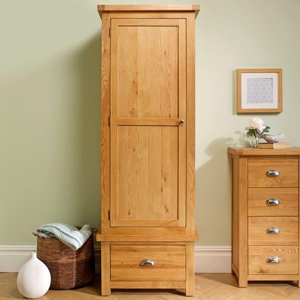 Woburn Oak 1 Door 1 Drawer Wardrobe Natural