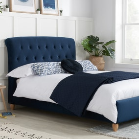 Brompton Midnight Blue Fabric Small Double Bed Frame