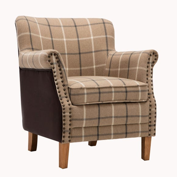 Ottavia Fabric and Faux Leather Armchair Brown