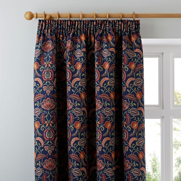 Chatsworth Navy Pencil Pleat Curtains  undefined