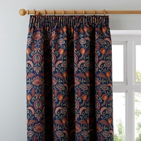 Chatsworth Navy Pencil Pleat Curtains