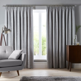 Parker Grey Chenille Pencil Pleat Curtains