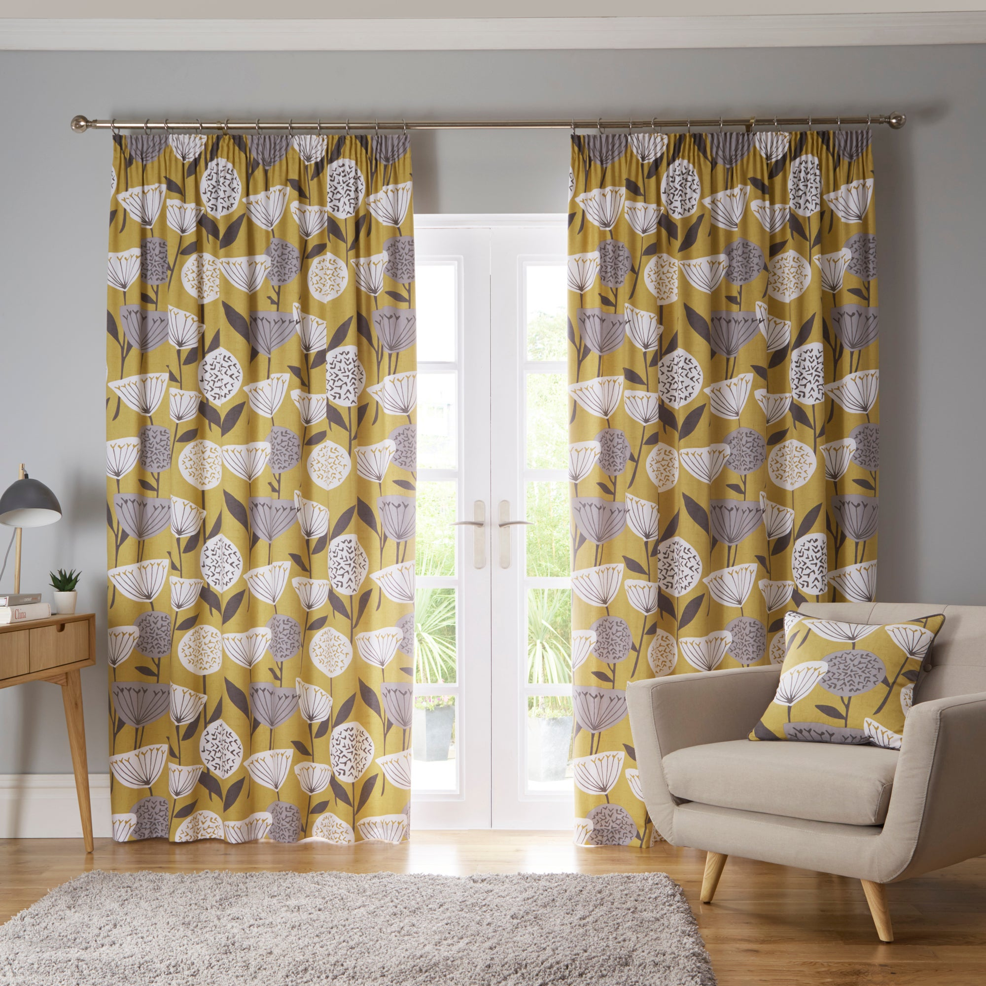 Photo of Elements emmott ochre pencil pleat curtains yellow- grey and white