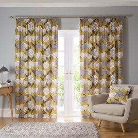 Elements Emmott Ochre Pencil Pleat Curtains