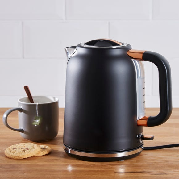 Dunelm 1.7L 3kW Matt Black & Copper Jug Kettle Black