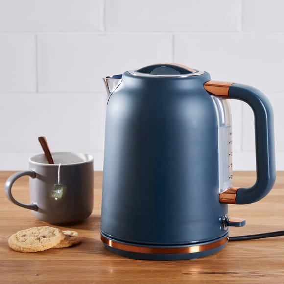Dunelm 1.7L 3.kW Matt Navy & Copper Jug Kettle Navy