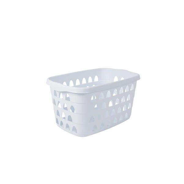 Strata White Rectangular Laundry Basket White