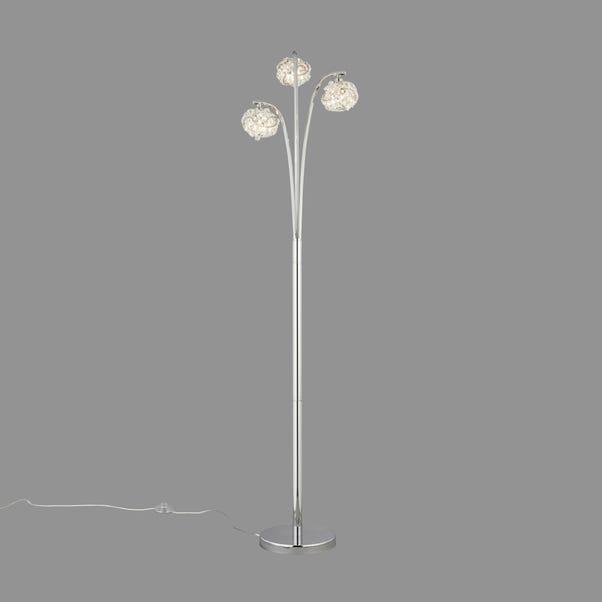 Cecilie 3 Arm Chrome Floor Lamp Silver