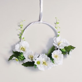 Artificial Floral Hanging Ring Cream 23cm