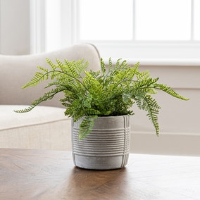 Artificial Fern Green in Concrete Pot 23cm