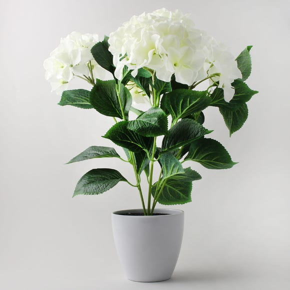 Artificial Hydrangea Plant Cream in Pot 50cm Cream