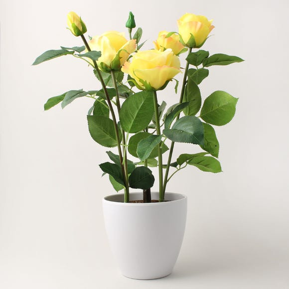 Artificial Rose Plant Yellow in Pot 50cm Yellow