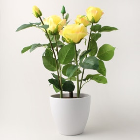 Artificial Rose Plant Yellow in Pot 50cm