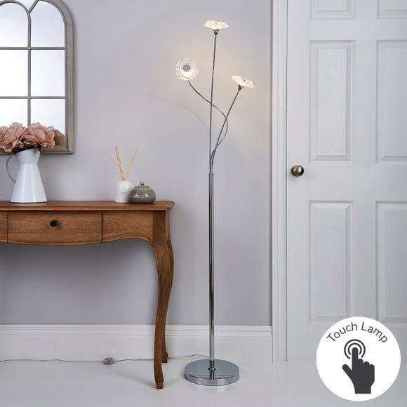 Alanli 3 Arm Integrated LED Flower Chrome Floor Lamp Silver