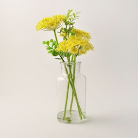Artificial Queen Anne's Lace Yellow in Glass Vase 30cm