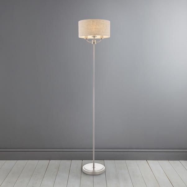 Preston Brushed Chrome Floor Lamp Grey