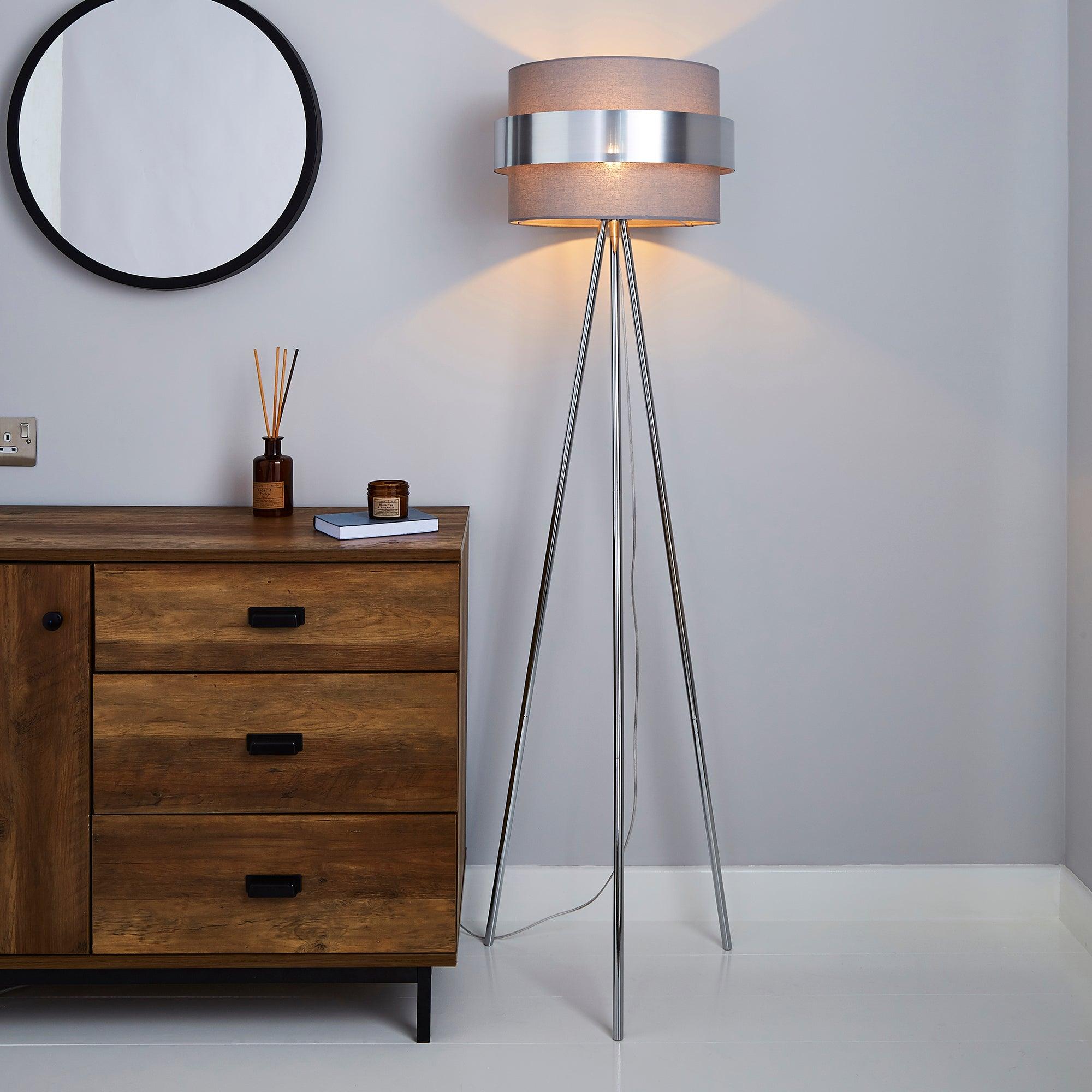 Joey Tripod Grey Floor Lamp Grey