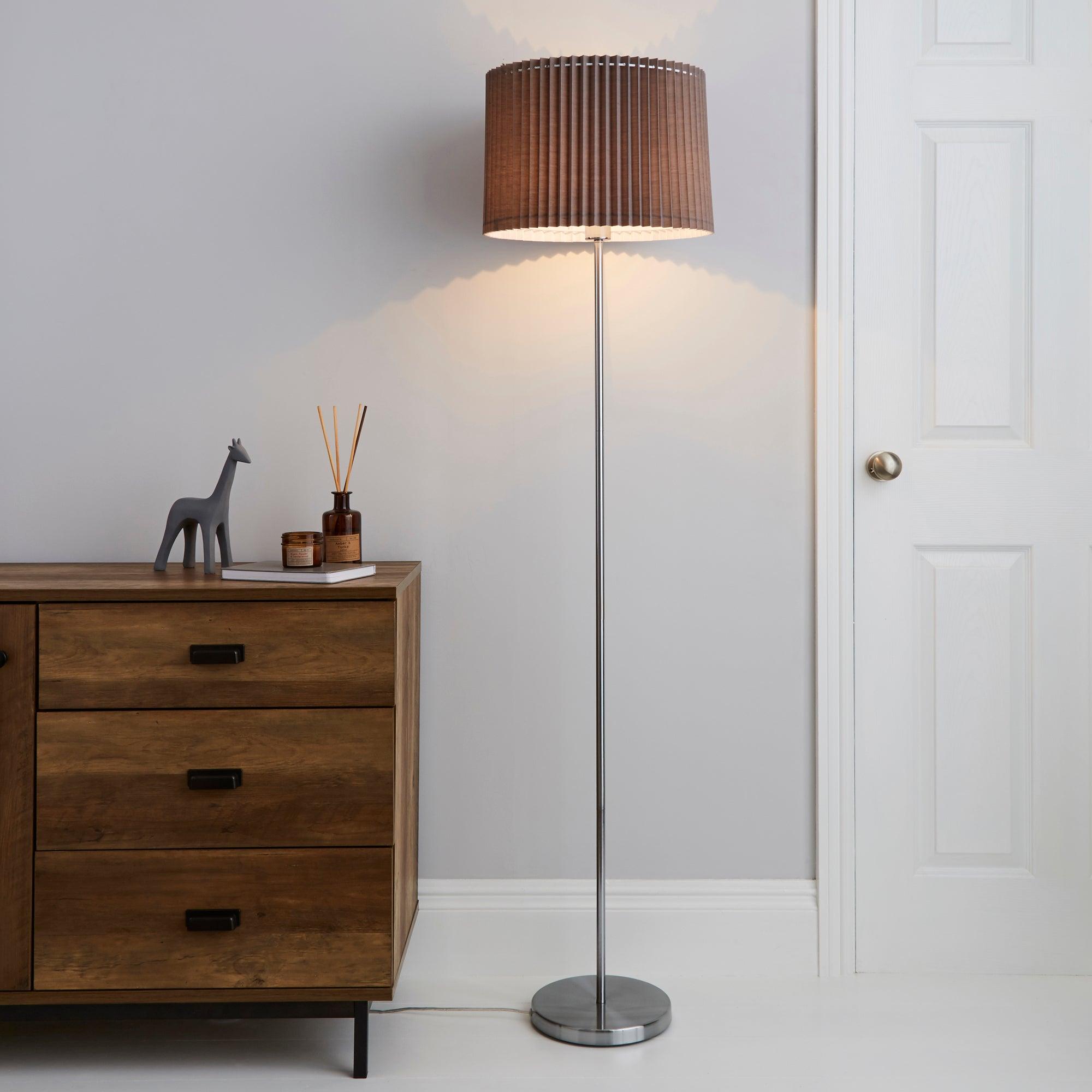 Fuller Grey Floor Lamp Grey, Chrome