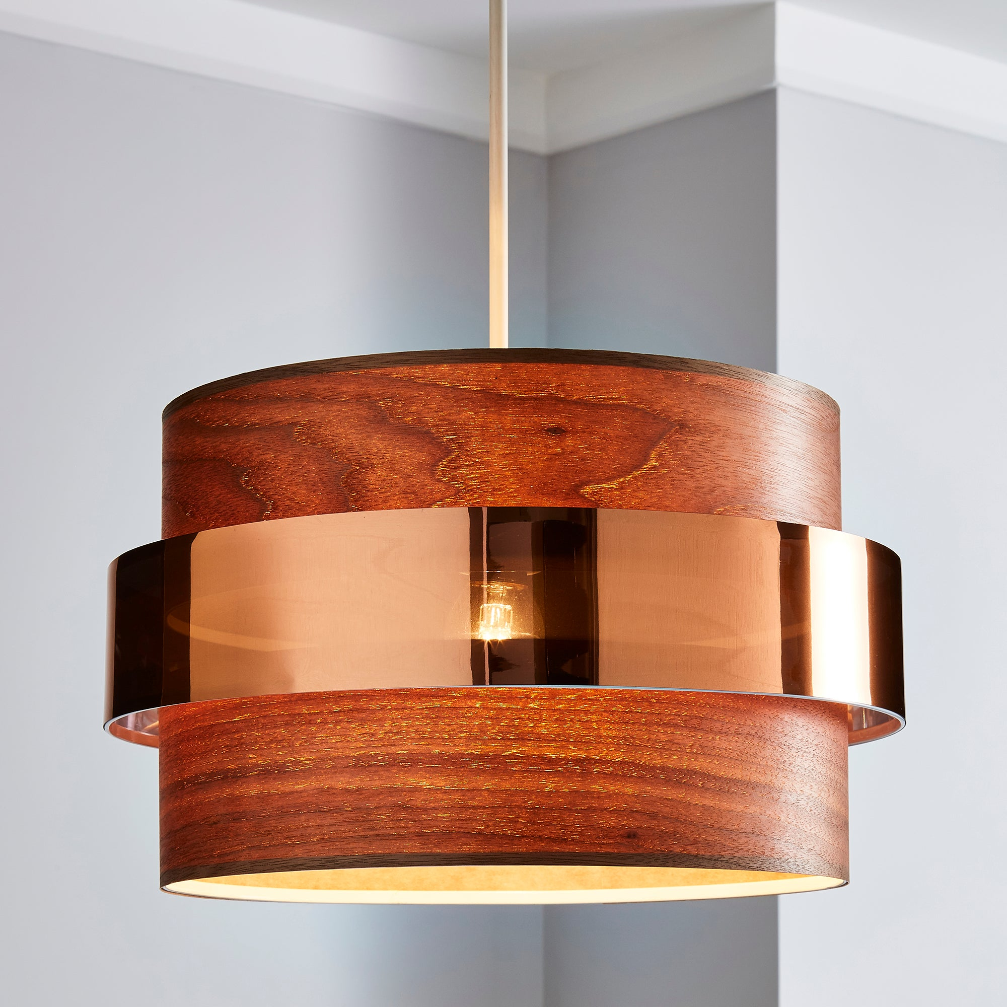 Click to view product details and reviews for Joey Dark Wood Easy Fit Pendant Brown.