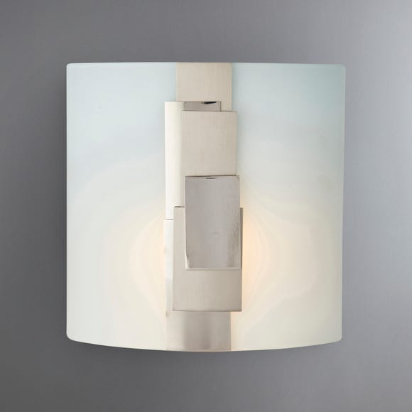 Tier Glass Nickle Plated Wall Light Natural