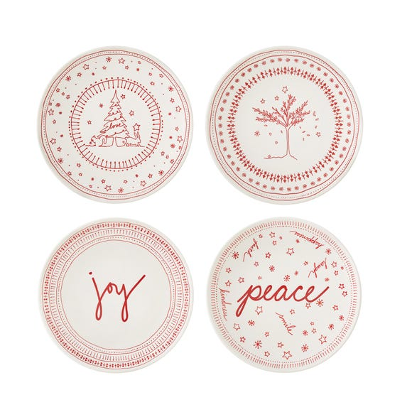 Set of 4 Ellen DeGeneres by Royal Doulton Holiday Collection 16cm Plates Red