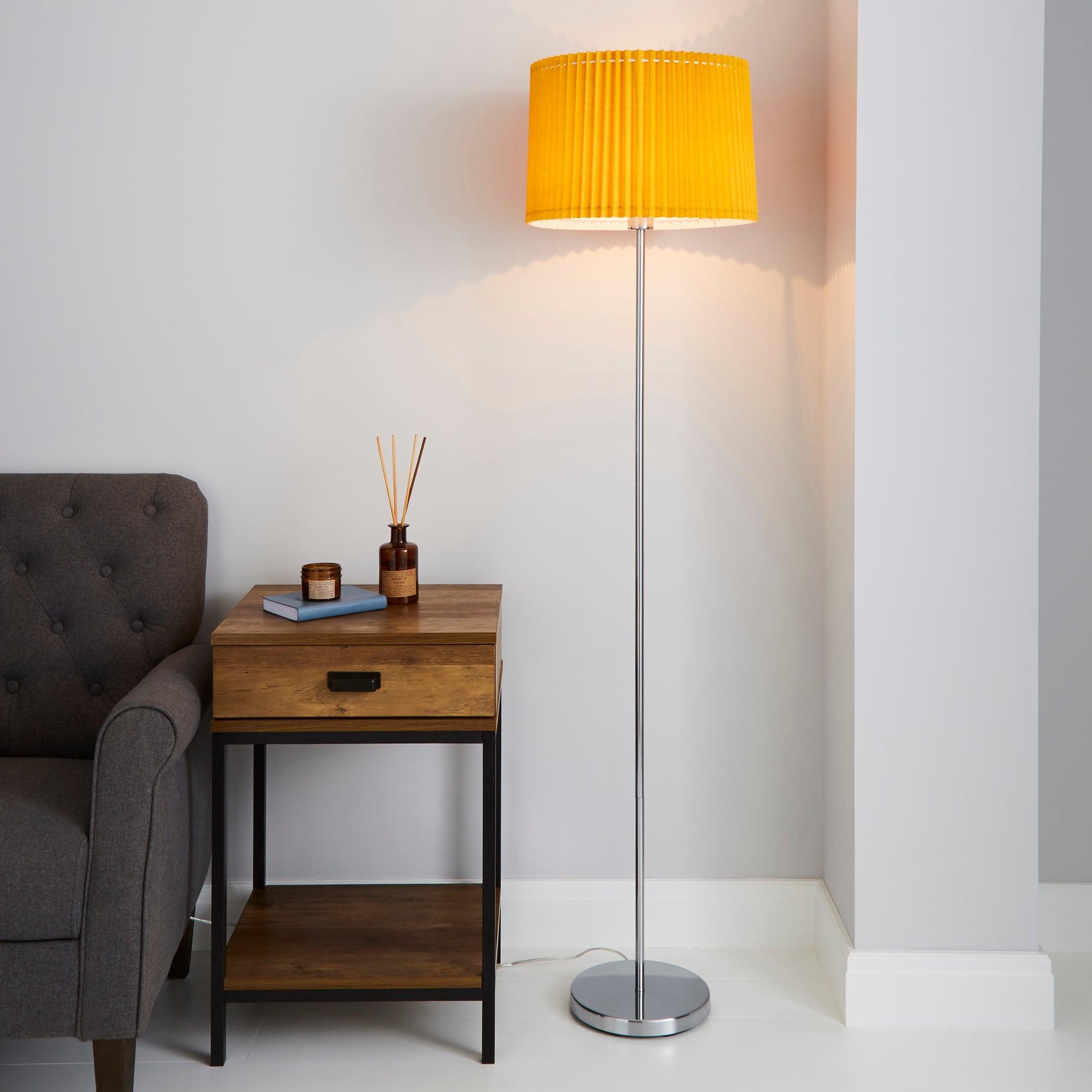 Fuller Ochre Floor Lamp Yellow and Grey