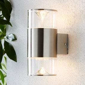 Aden 2 Light Steel Outdoor Wall Light