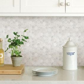 InHome Hexagon Marble Self Adhesive Backsplash Tiles