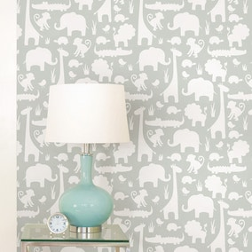 NuWallpaper Its A Jungle In Here Grey Self Adhesive Wallpaper