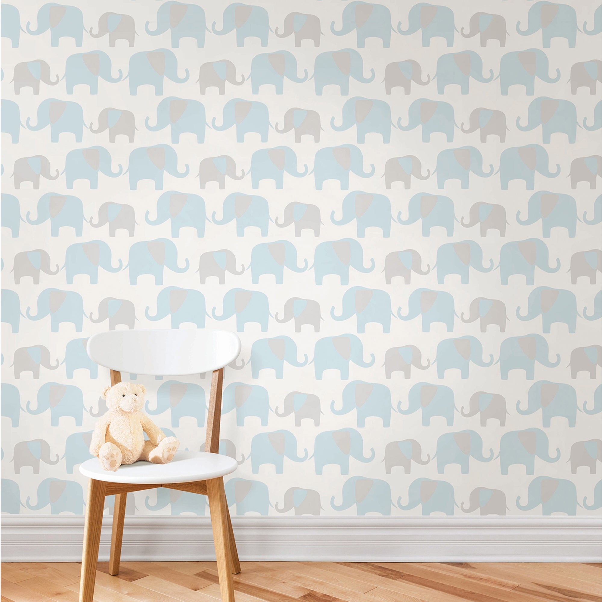 Nuwallpaper Elephant Parade Blue Self Adhesive Wallpaper Blue