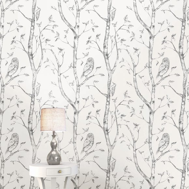 NuWallpaper Woods Grey Self Adhesive Wallpaper Grey