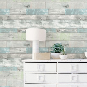 NuWallpaper Beachwood Blue Self Adhesive Wallpaper