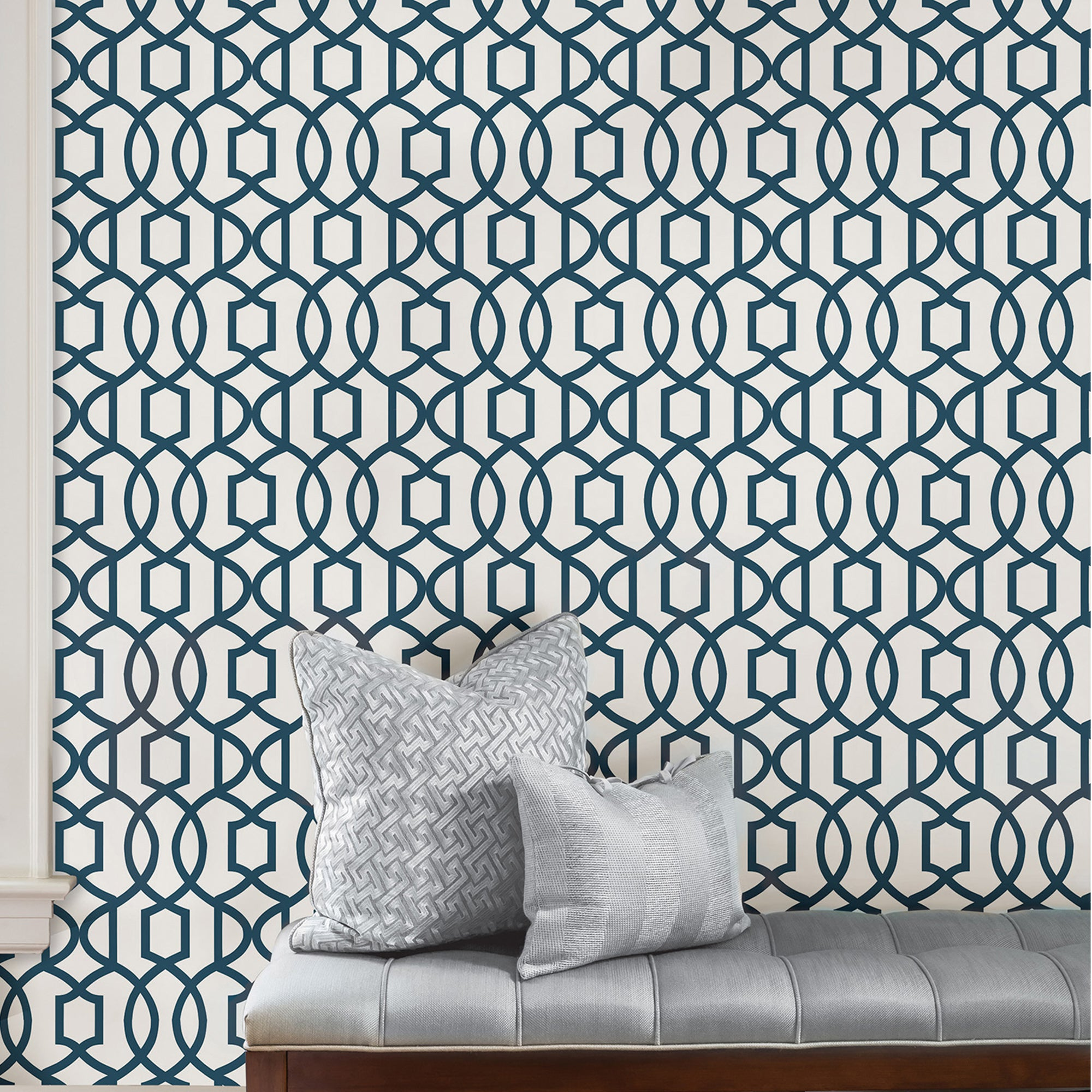 Click to view product details and reviews for Nuwallpaper Grand Trellis Navy Self Adhesive Wallpaper Blue.