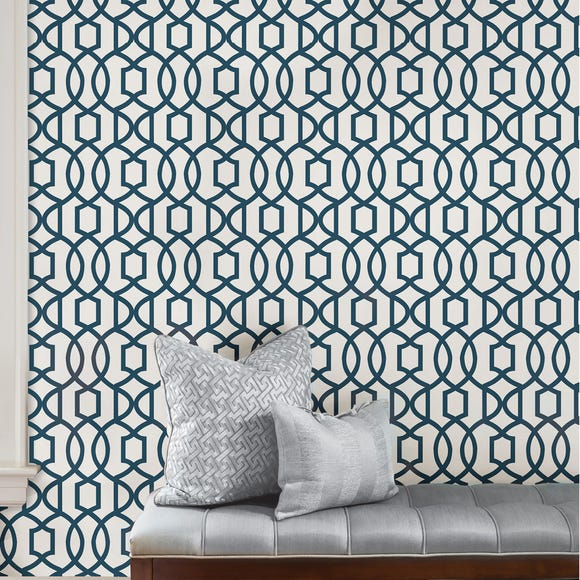 NuWallpaper Grand Trellis Navy Self Adhesive Wallpaper Blue