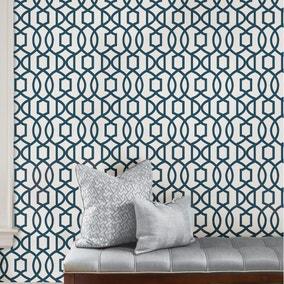 NuWallpaper Grand Trellis Navy Self Adhesive Wallpaper